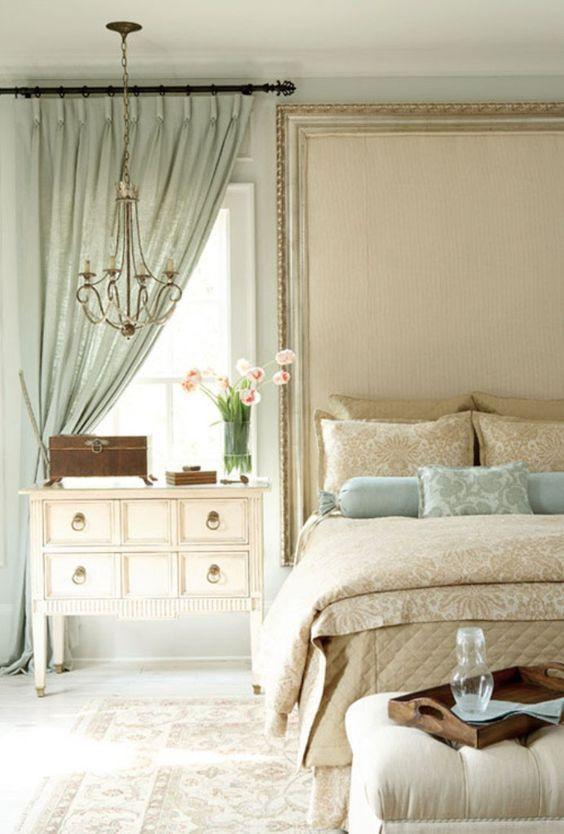 Sage Green Curtain And Classic White Side Table For Sweet Master Bedroom Ideas With Beige Wall Color Traditional Bedroom Home Home Bedroom