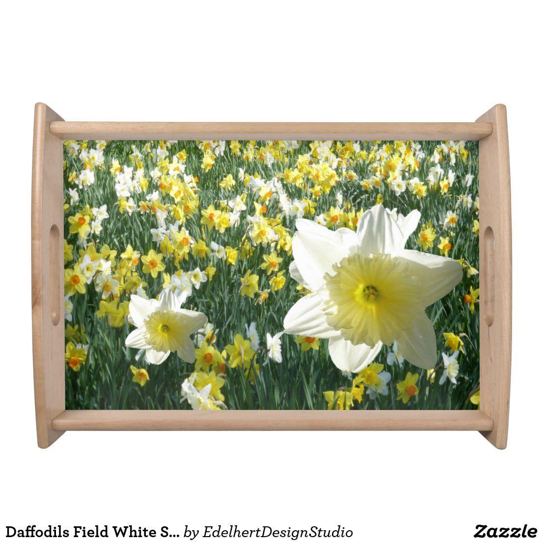 Daffodils Field White Serving Tray Zazzle Com White Serving Tray Daffodils Natural Wood Finish