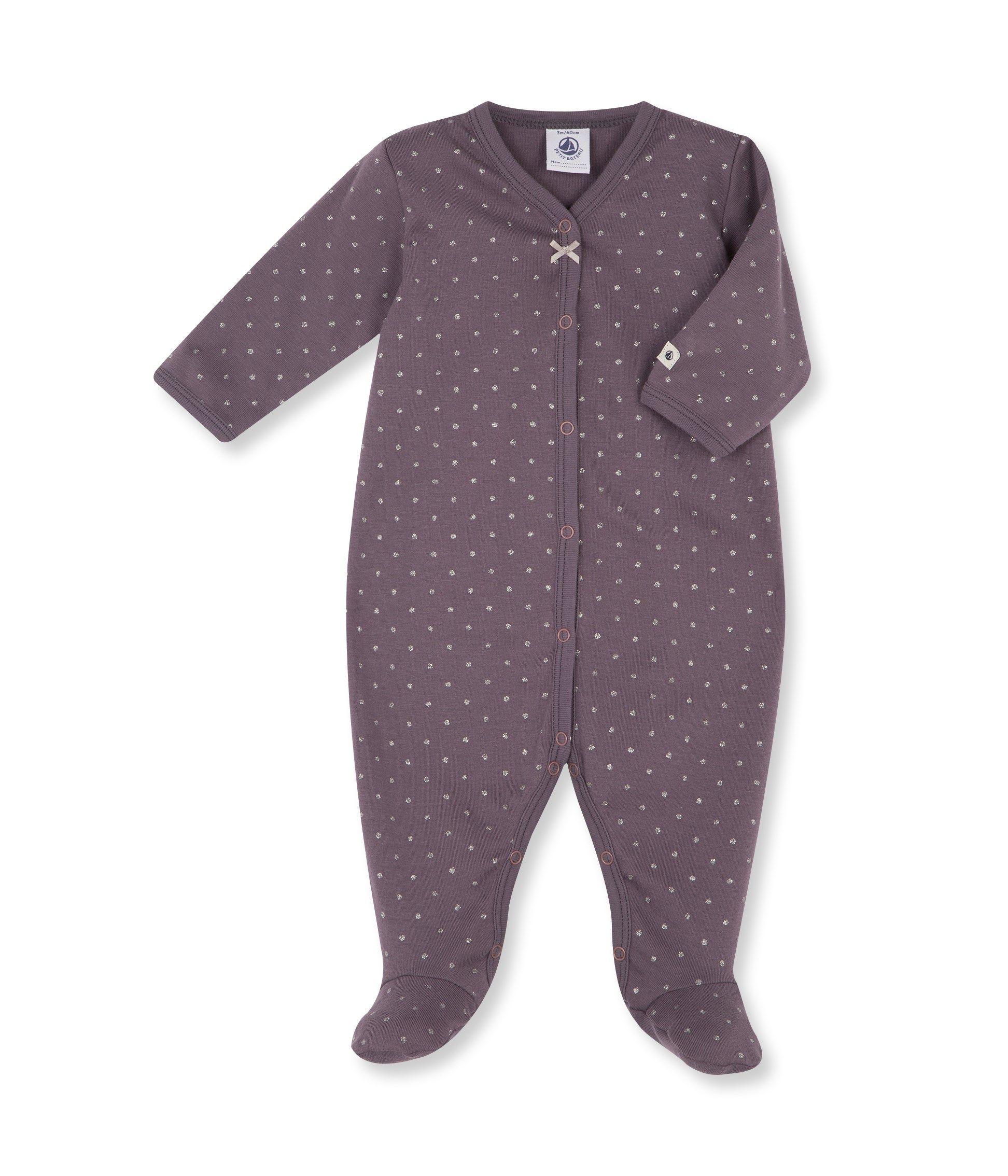 c8213f8d42c5c 23€ - coton été   Dors bien bébé fille à pois violet Poppins   gris Argent  - Petit Bateau