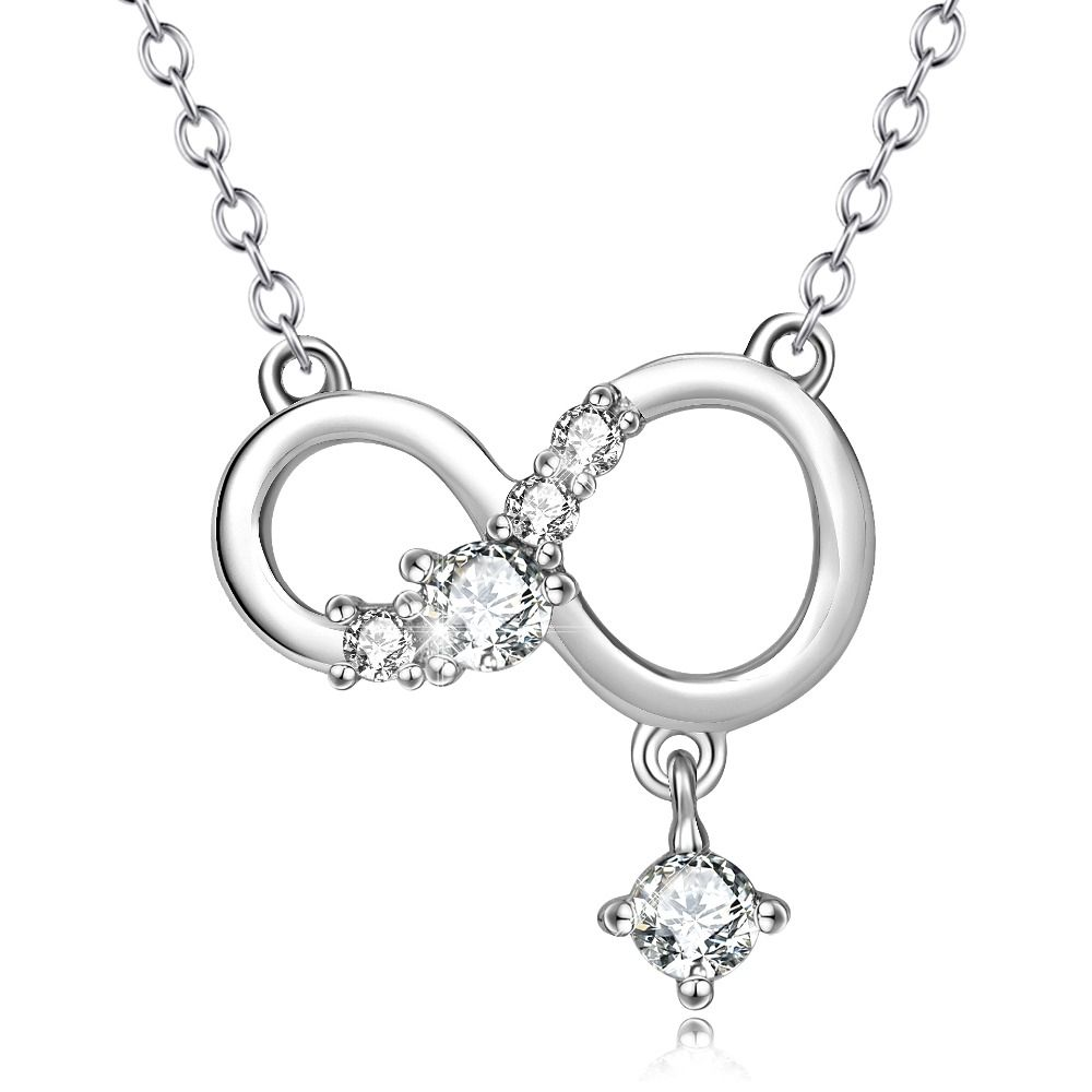 Infinity Necklace 925 Sterling Silver Cubic Zirconia Pendant Necklace For Women 18'' rkQQWwy