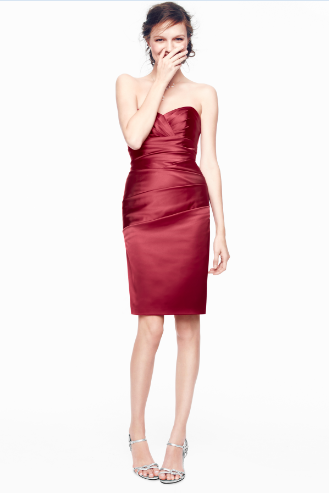 David's Bridal Short Stretch Satin Bridesmaid Dress with Sweetheart Neckline. Style F15615 in Apple red.