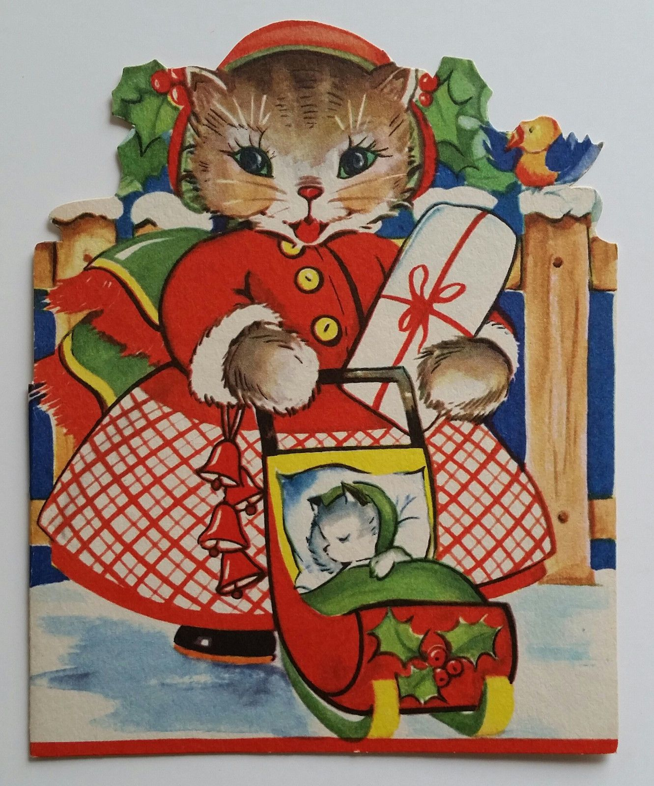 Vintage Christmas Greeting Card Cute Kitty Cat Baby Ready For