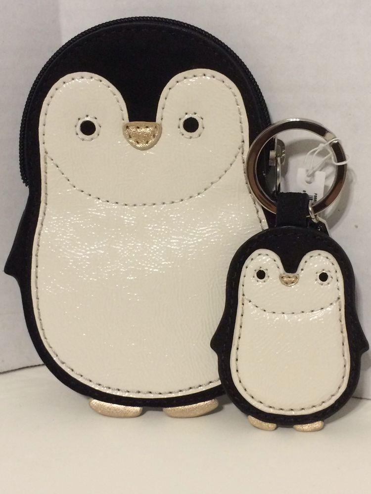 New Coach Penguin Motif Coin Purse Wallet F66420 Matching