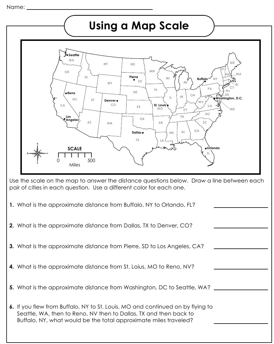 Using A Map Scale Worksheets Social studies worksheets