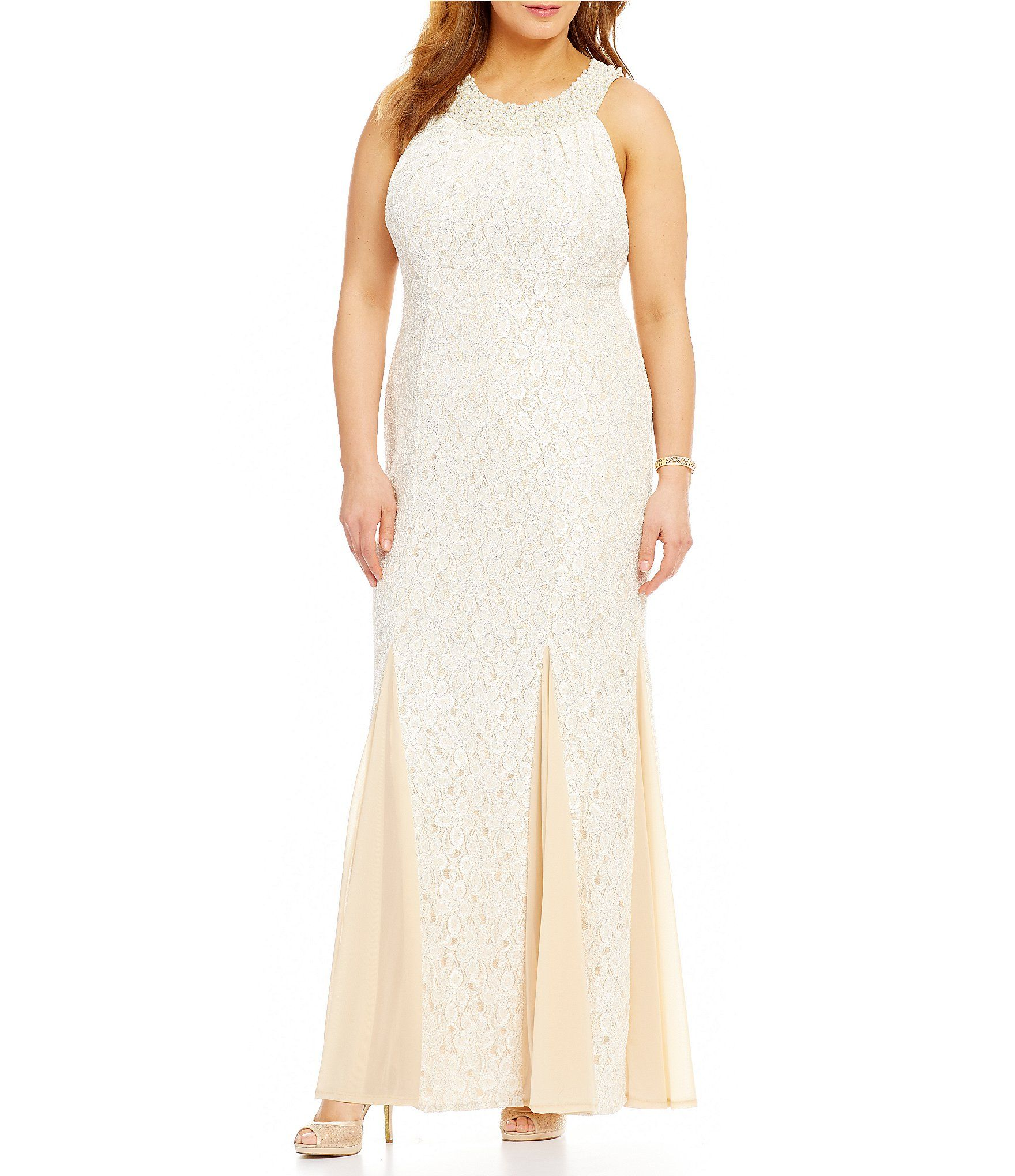 Cachet plus beaded lace empire gown dillards empire and gowns