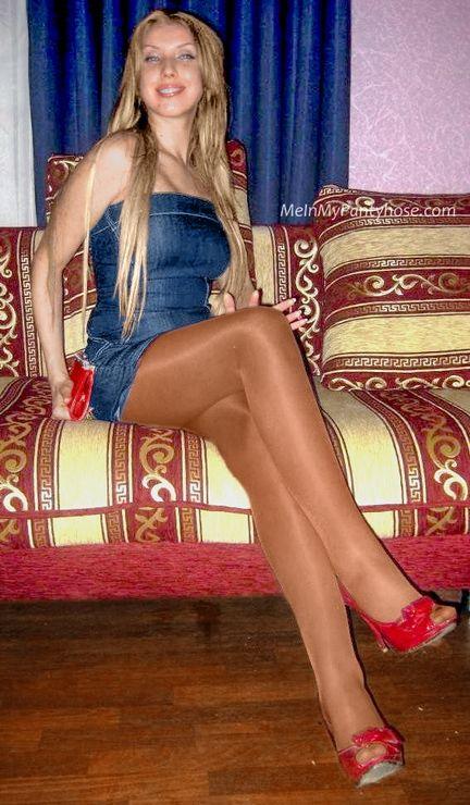 Amateur Wearing Pantyhose With Denim Dress  My Pantyhose -2989