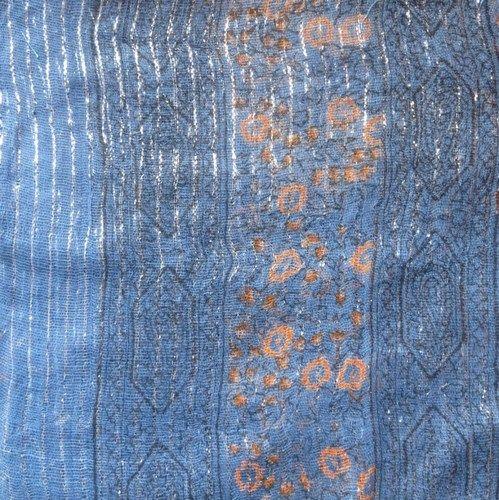 Denim blue lurex tichel with orange berry flowers, $8.50