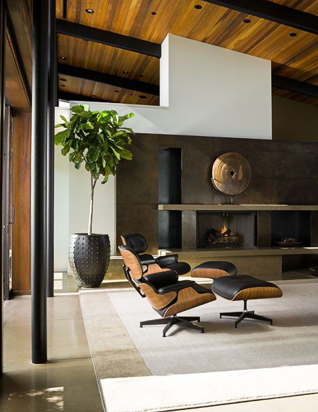 Home Residential Contemporary Fireplace Eames Chairs Rustic Modern Art Sculpture On The Ma Living Room Chairs Modern Living Room Modern Eames Lounge Chair
