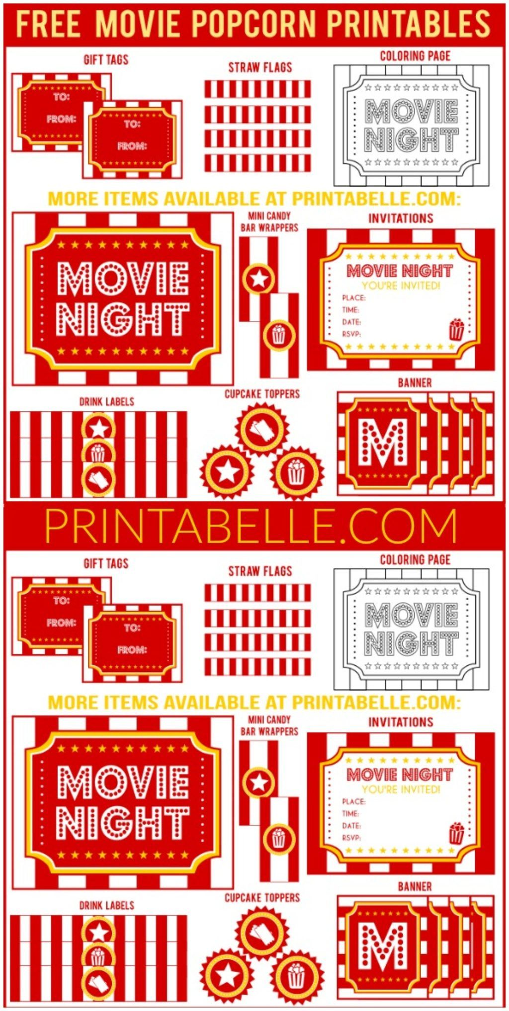 Movie Night Popcorn Printables