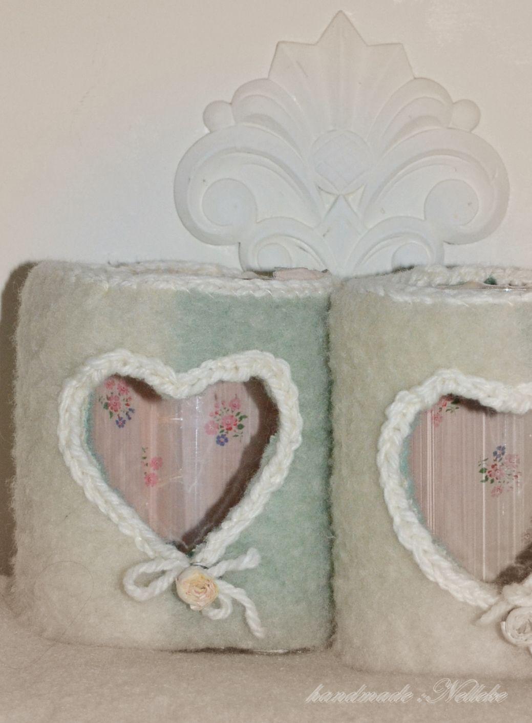 wax houders met een jasje van wollen deken en een randje van gehaakt wol  handmade by Nelleke