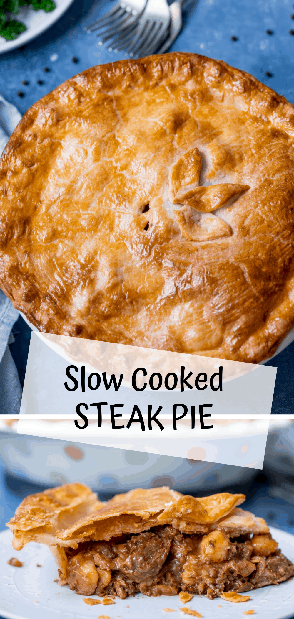 Rich and tasty slow cooked steak pie with potatoes. # ...