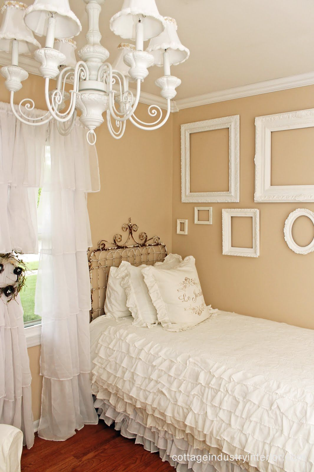 junk chic cottage ruffle curtains from target and love empty white frames
