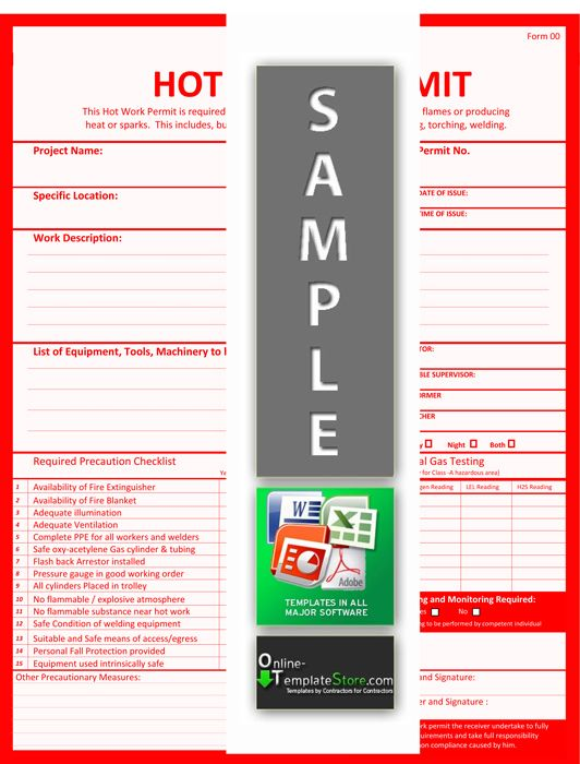 Hot Work Permit Health \ Safety Templates Pinterest Safety - risk assessment checklist template