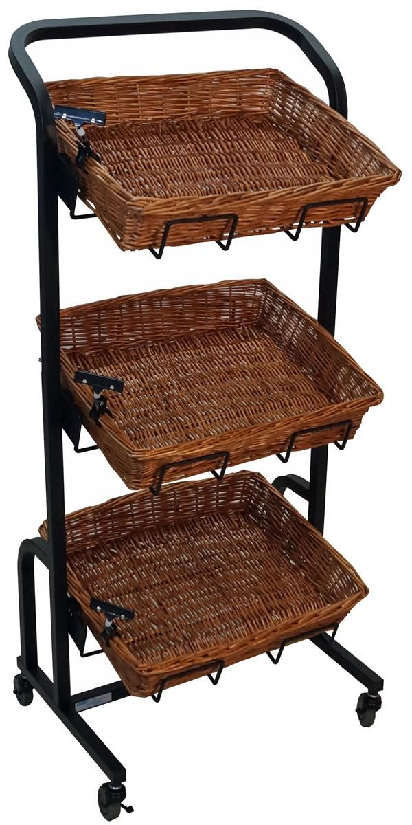 3 Tier Rectangular Basket Stand Wheels Metal Frame Wicker