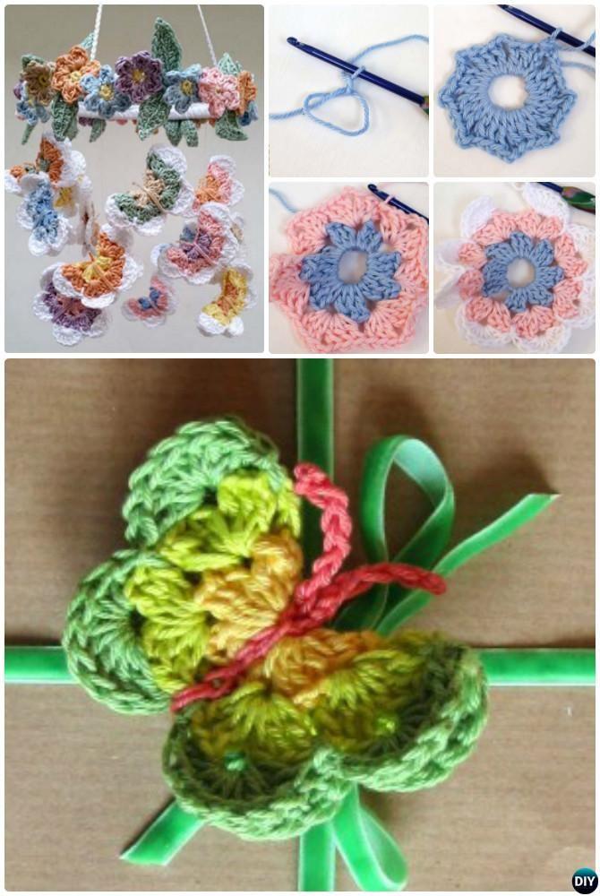 Crochet 3D Butterfly araña patrón libre | flores al croche ...