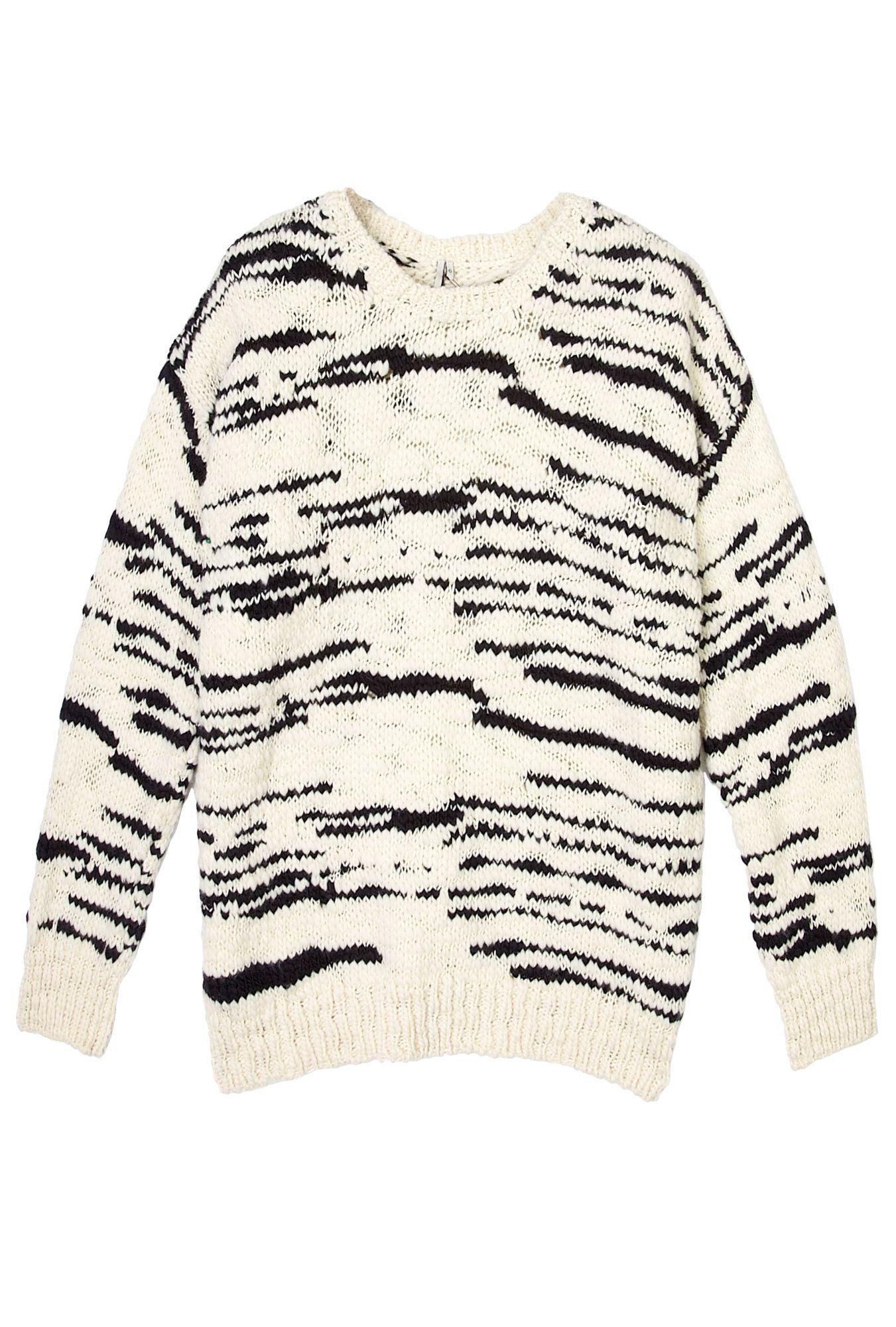 Cream and Black Merino Knitted Jumper by IRO
