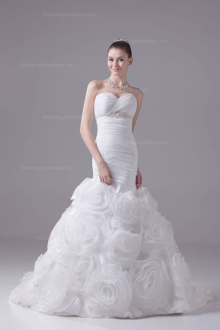 Sweetheart Fully Ruched Wedding Dress With Flowers Bottom 43198
