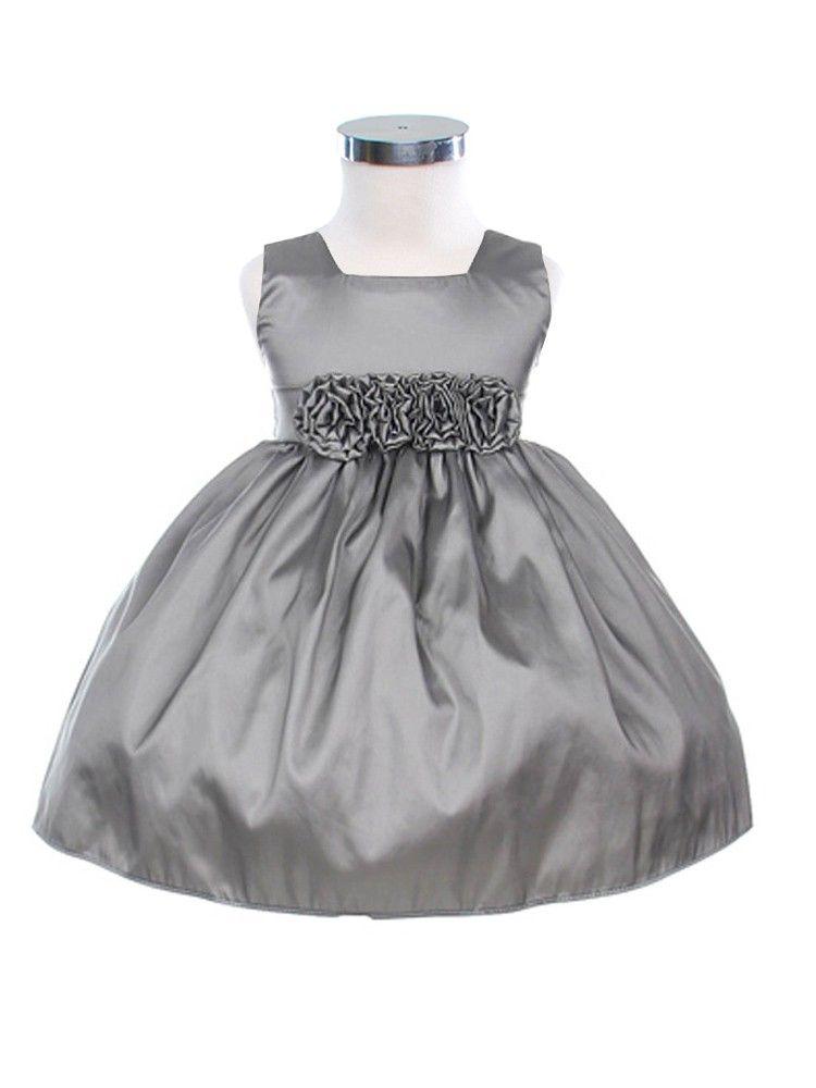 259e64189be90 Gray Sleeveless Taffeta Flower Baby Dress (Sizes Infants-24M)   baby ...