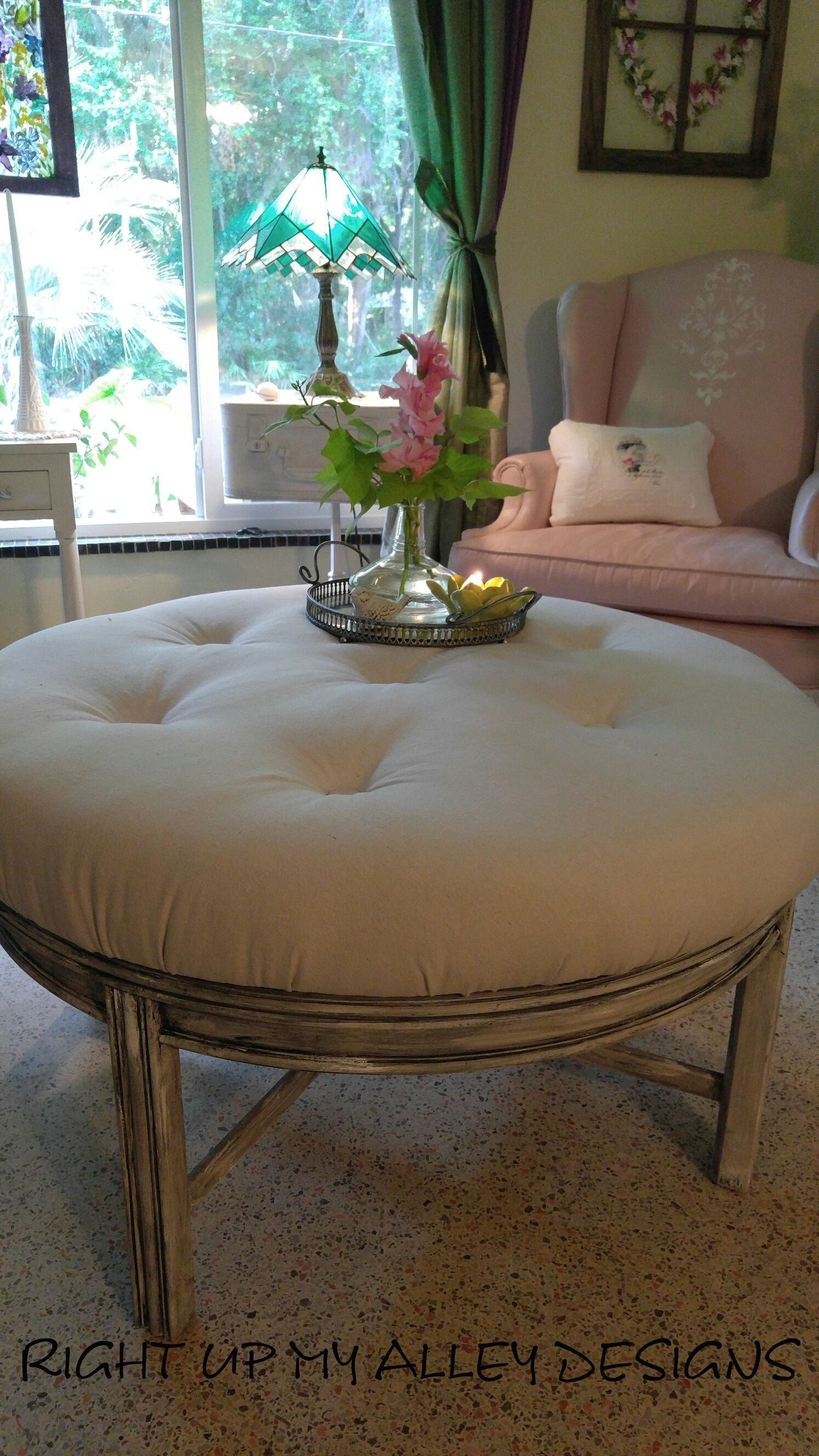 Ottoman Coffee Table Round,Hand-painted coffee table ottoman,Tufted ...