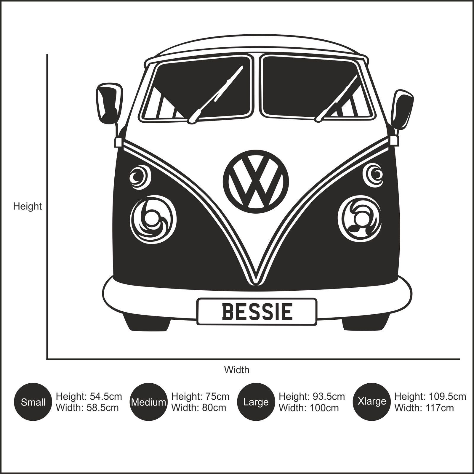 c86686e7ec Personalised VW Camper Van Vinyl Wall Art Sticker Decal. This design is  shown in wine red but you can choose from our range of 27 colours if you  wish by ...