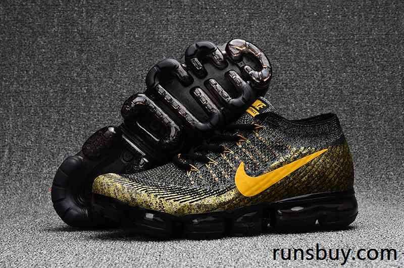 New Coming Nike Air Vapormax 2018 Flyknit Black Gold Nike Shoes Air Max Nike Air Max Nike Shoes For Sale