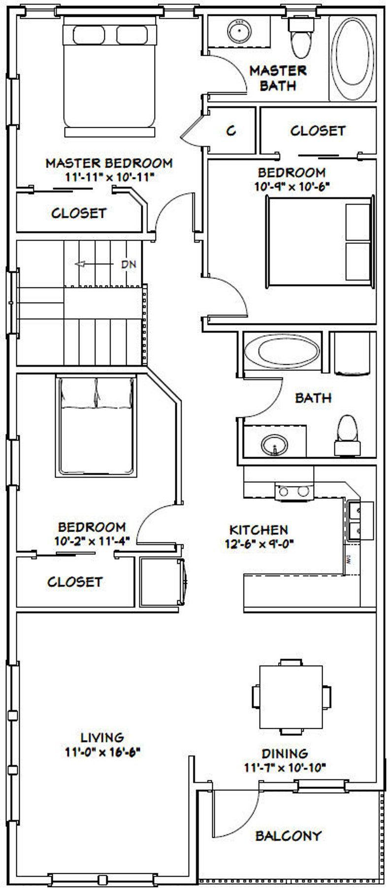 60x50 House 3 Bedroom 2 5 Bath 1703 Sq Ft Pdf Floor Etsy In 2020 Bedroom Floor Plans Floor Plans House Plans