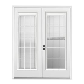 Shop ReliaBilt 71-1/2-in Triple-Pane Blinds Between Glass Steel French Inswing Patio Door at Lowes.com