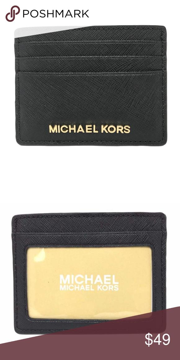 d1668678e9d8 Michael Kors Jet Set Travel Black Card Holder NWT Michael Kors Jet Set  Travel Large Leather