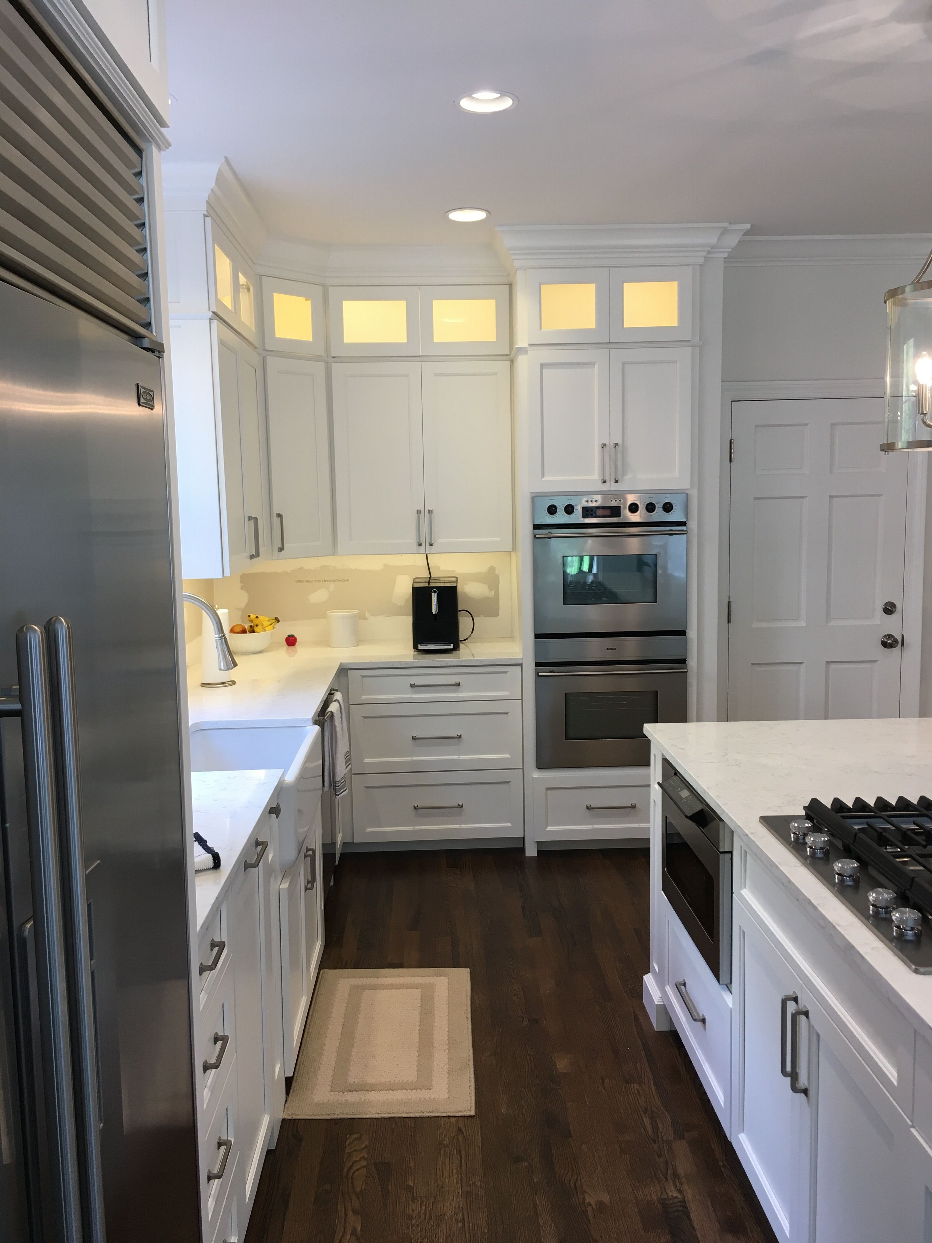 Shaker style cabinets with glass doors, led lighting ...