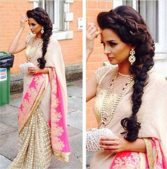 Saree Pink And White Or Peach Cream Her Hair Style Is Amazing