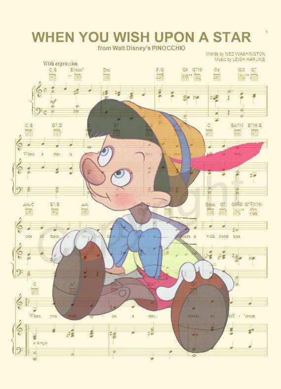 Pinocchio Sheet Music Art Print By AmourPrints On Etsy