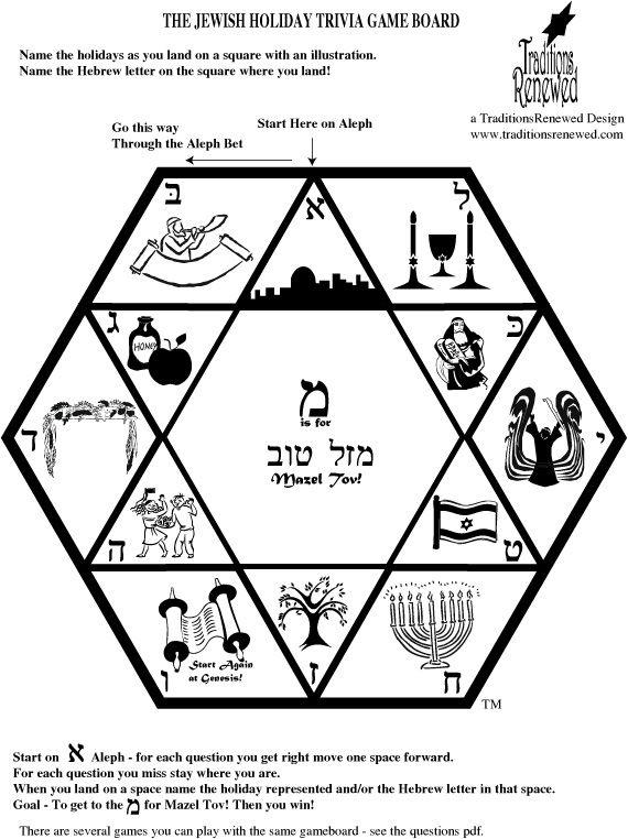 Free Printable Jewish Holiday Trivia Game Board Hebrew School