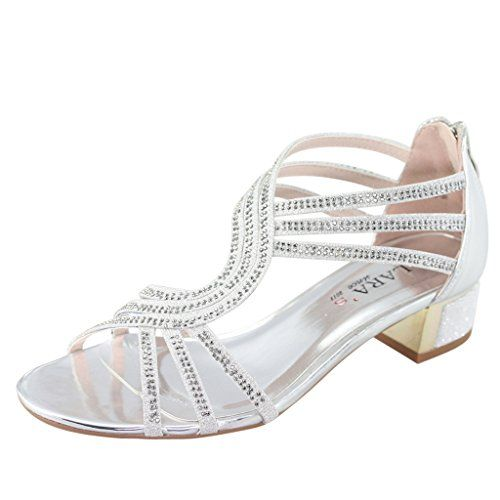 6310c053acd stunning LARA s Women s Metallic Low Heels Dress Sandals Crystals Strappy  Chunky Back Zip
