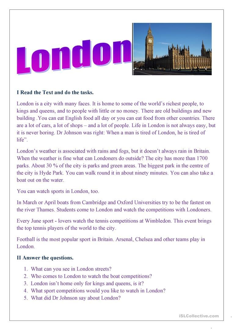 London English ESL Worksheets in 2020 Geography for