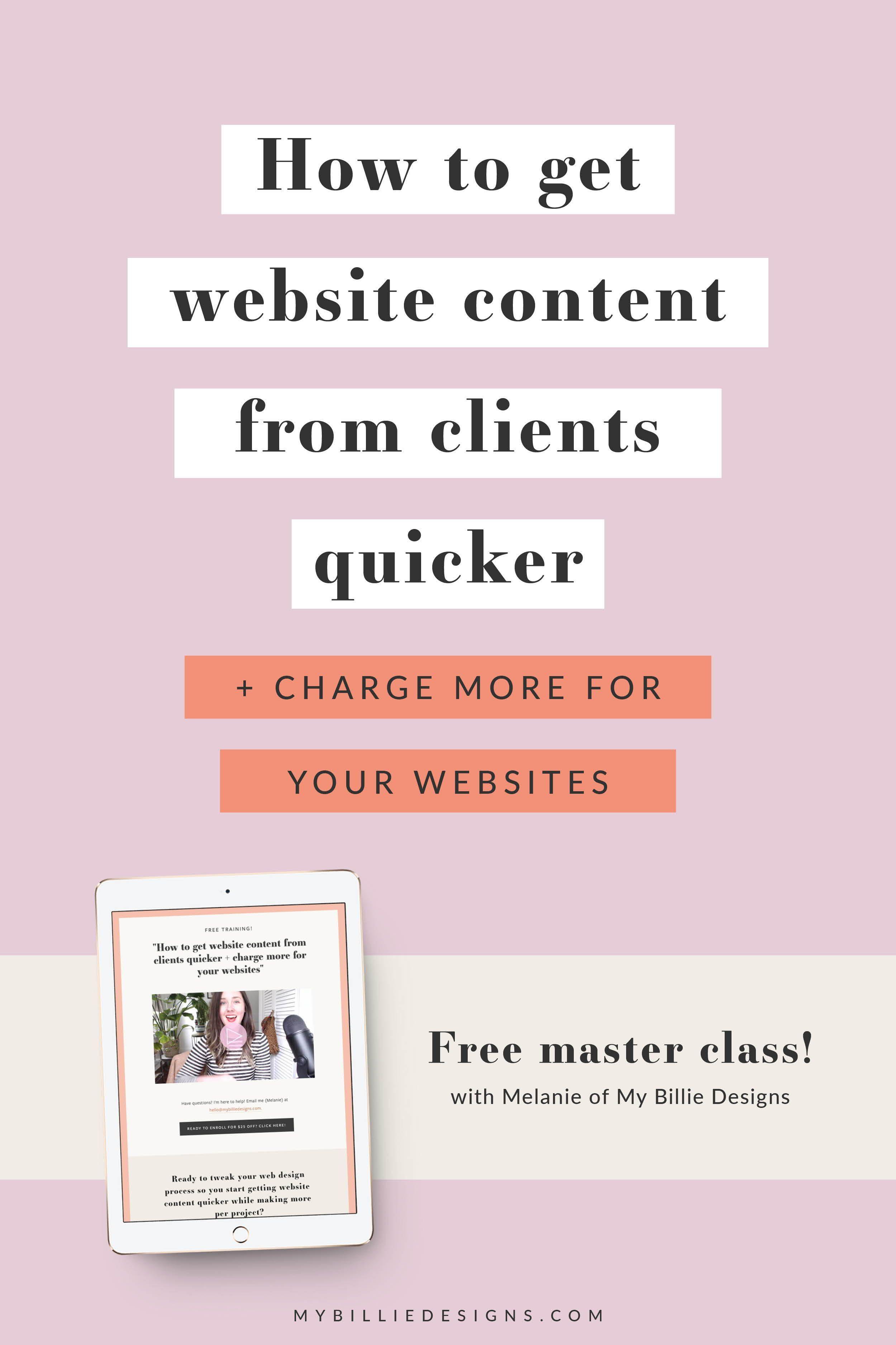Website Content From Clients Quicker My Billie Designs Website Content Business Web Design Business Website Design