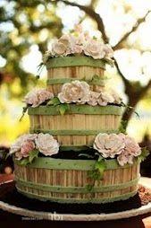 Farm Wedding cake...love the buckest but put dark brown instead of the green :)