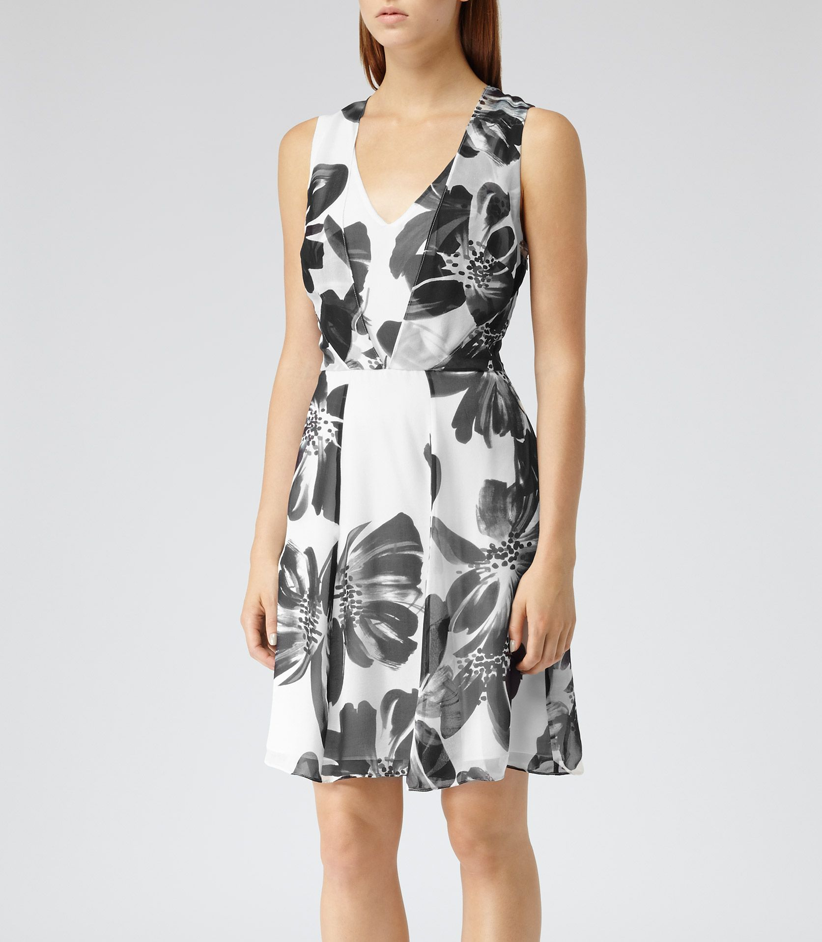 womens blackwhite floral print silk dress reiss alice