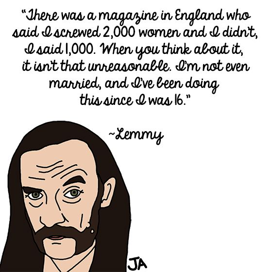 Lemmy's Kilmister's Rockstar Life, in Illustrated Form... illustrated by Jena Ardell for O.C. Weekly Music: http://blogs.ocweekly.com/heardmentality/2014/02/lemmy_motorhead_illustrated_quotes_coachella.php