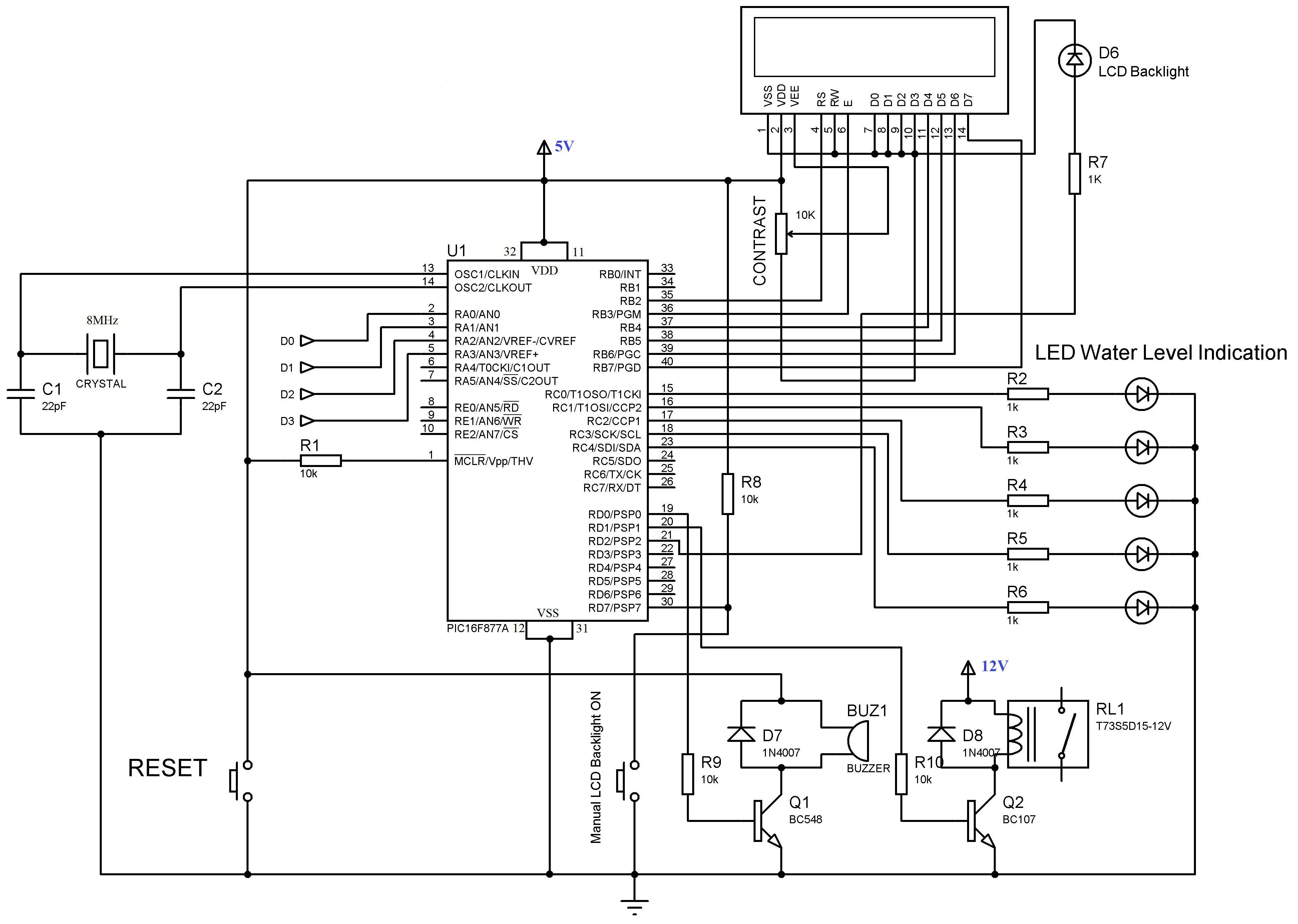 Water-Level-Indicator-Controller-using-PIC-Microcontroller