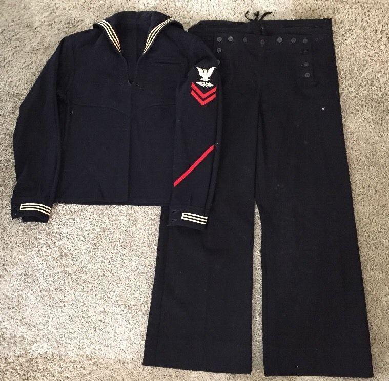 Wwii Us Navy Uniform 2 Pieces Jumper Pants Dress Blue Service Uniform Jumper Pants Us Navy Uniforms Dress Pants