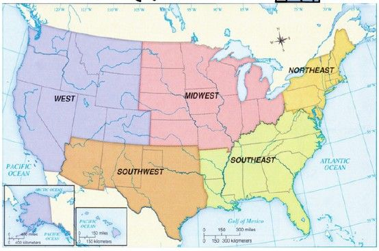 Simple Us Regions Labeled Map Homeschooling Historygeography - Regions-of-us-map