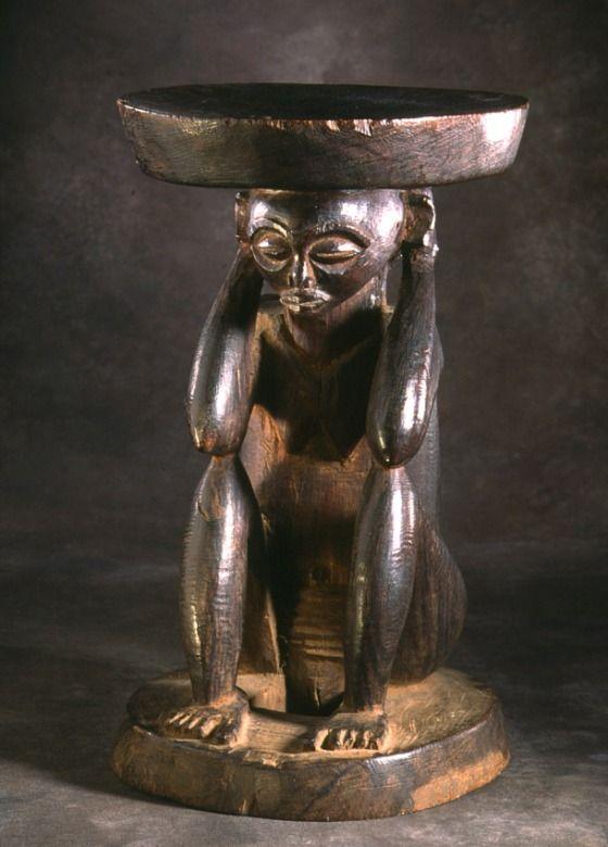 Stool Africa, Democratic Republic of the Congo, Chokwe peoples, 20th century Furnishings; Furniture Wood