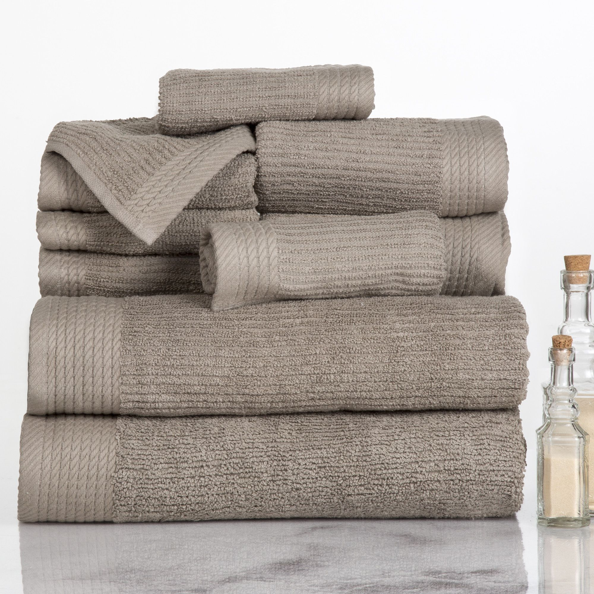 Ribbed 10 Piece 100 Cotton Towel Set Egyptian Cotton Towels