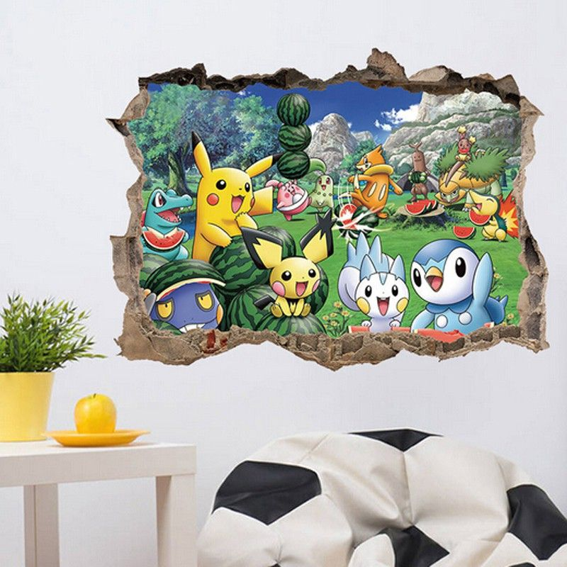 removable kids bedroom decor 3d pokemon wall stickers adhesive