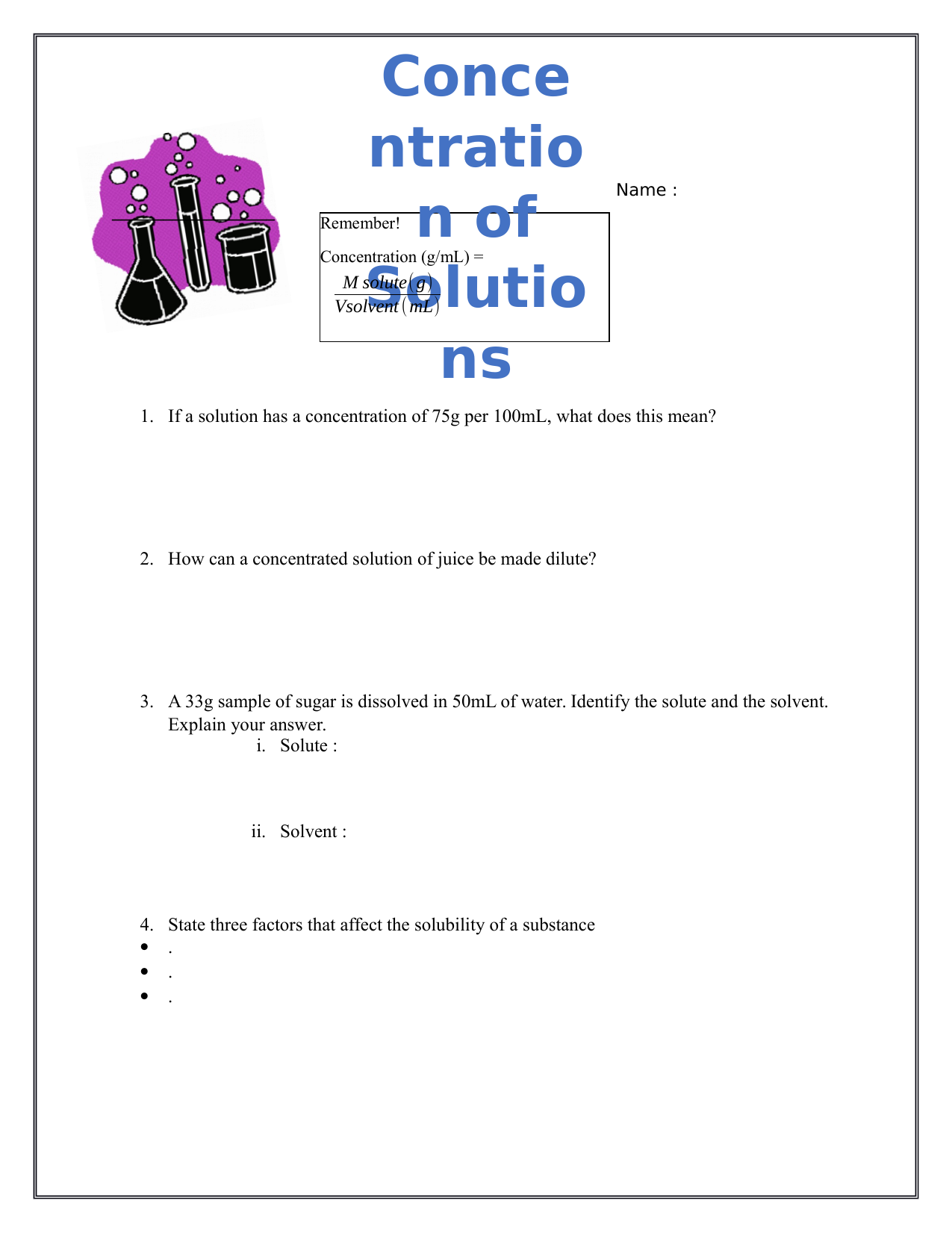 Concentration Worksheet