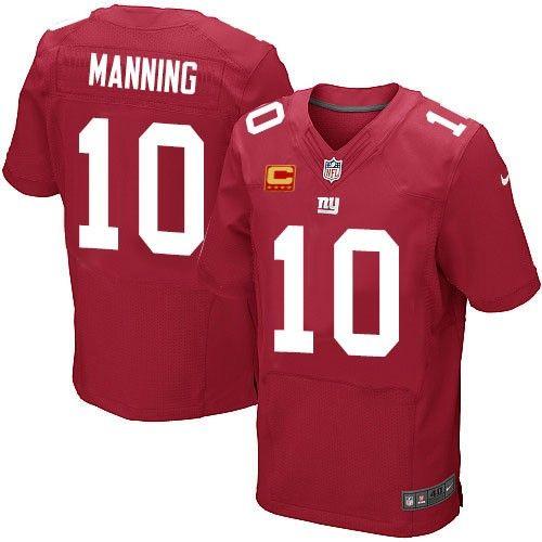 Mens Nike New York Giants #10 Eli Manning Elite Red Alternate C Patch NFL Jersey