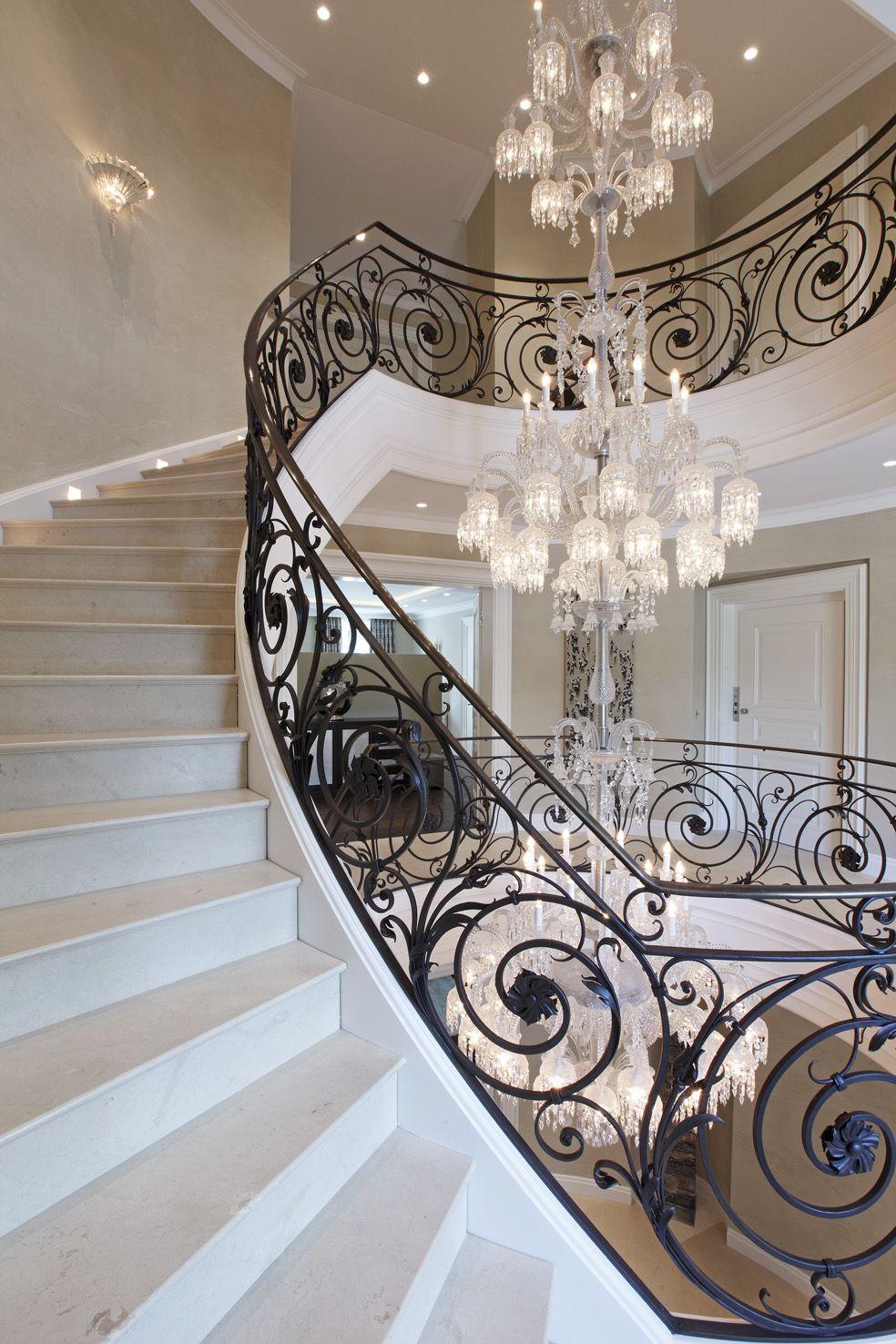 Lighting Basement Washroom Stairs: Baccarat Chandelier Villa Privée...stunning Wrought Iron