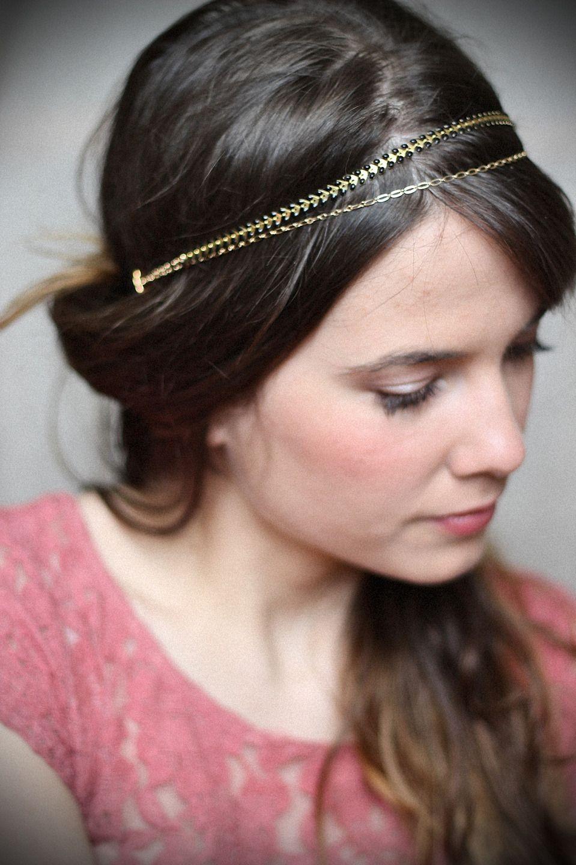 Bijou de tête doré simple élastique Accessoires coiffure