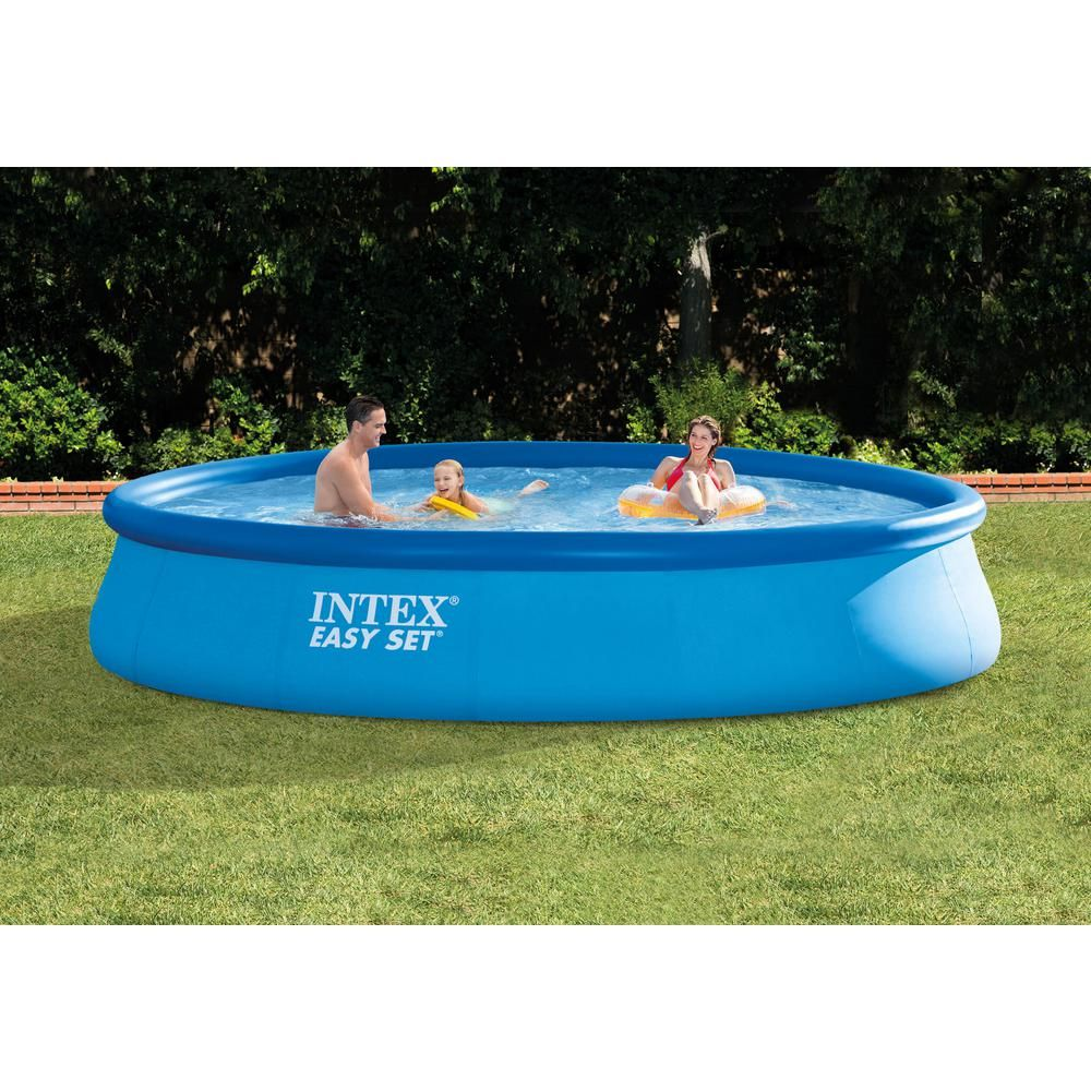 Intex 15 Ft X 33 In Round Above Ground Swimming Pool Filter Pump And Vinyl Solar Cover 28157eh 29023e The Home Depot Above Ground Swimming Pools Swimming Pools Solar Cover