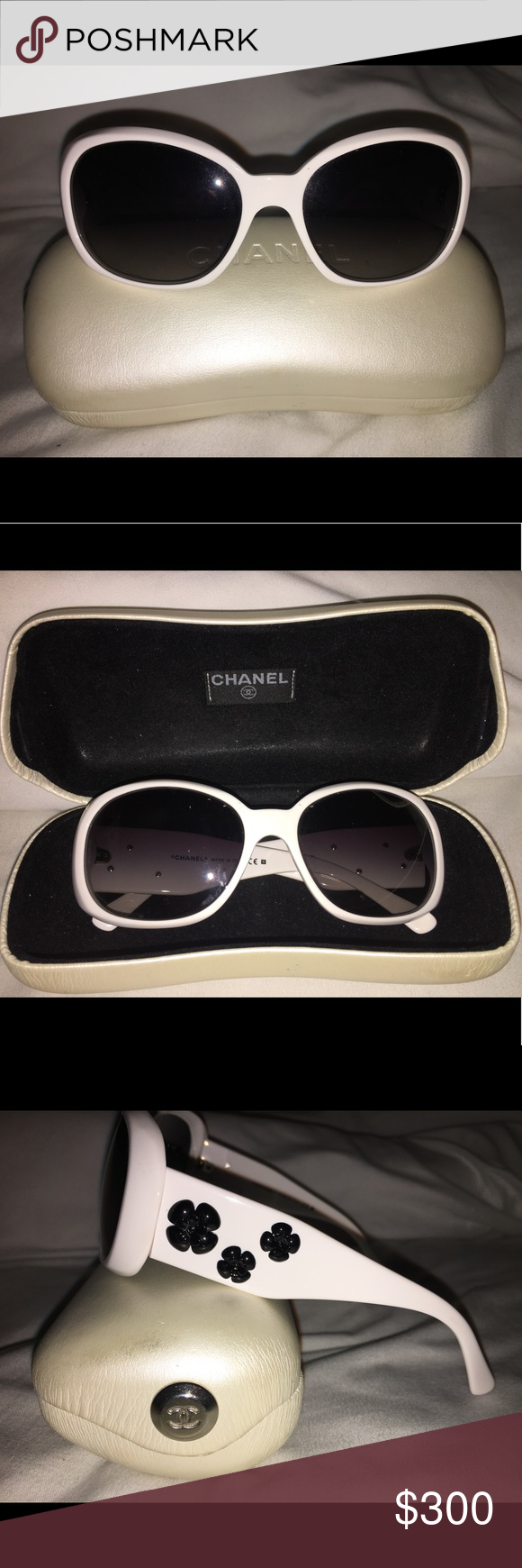 e58640c787bd Chanel 5113 CC Logo Camellia Flower Sunglasses Monochrome Square Wrap  polarized Two-toned in White/Black. CHANEL Accessories Sunglasses